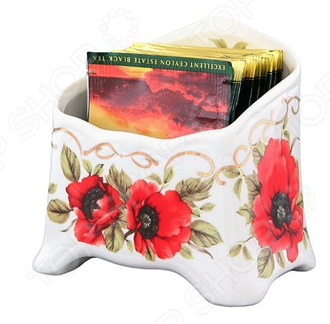 Подставка сервировочная под чайные пакетики Elan Gallery «Маки» 503956