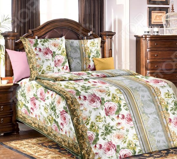 цена Комплект постельного белья Белиссимо «Адель». Цвет: зеленый онлайн в 2017 году