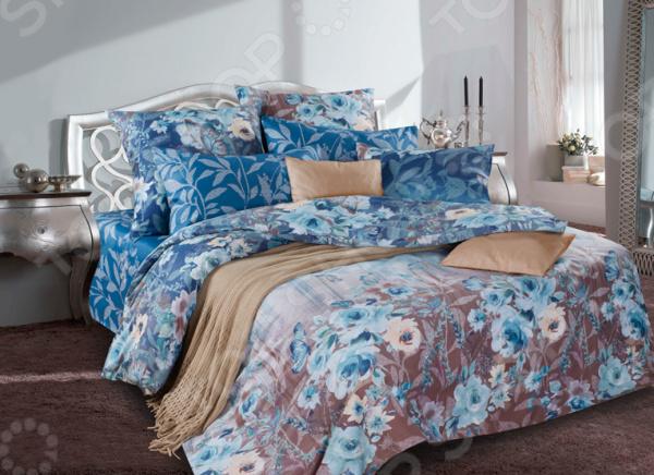 Комплект постельного белья La Noche Del Amor А-588. Цвет: темно-голубой, светло-коричневый. 1,5-спальный