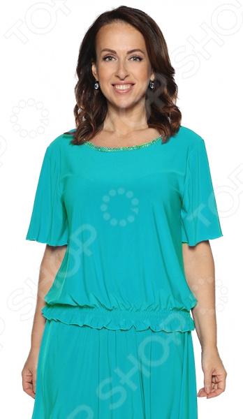 Блуза Pretty Woman «Лови момент». Цвет: бирюзовый цена