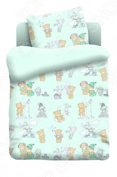 Ясельный комплект постельного белья Непоседа «Тедди». Цвет: светло-зеленый