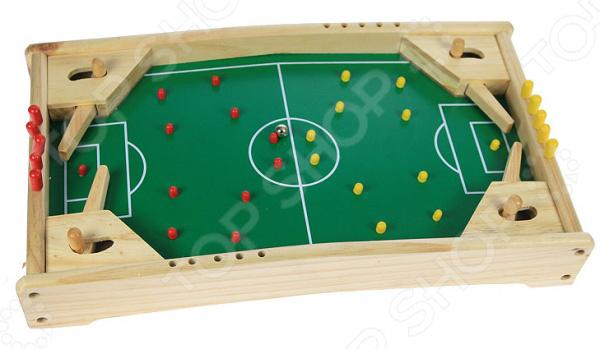 Игра настольная 2 в 1: пинбол и футбол 42333 увлекательная игра для любых возрастов. Цель игры попасть шариком в ворота оппонента. Играя в неё можно развить ловкость, глазомер, а также интересно провести свободное время дома или в дороге. Выполнена игра из дерева, поэтому стоит беречь от влаги. Размер поля 42х24х8 см.