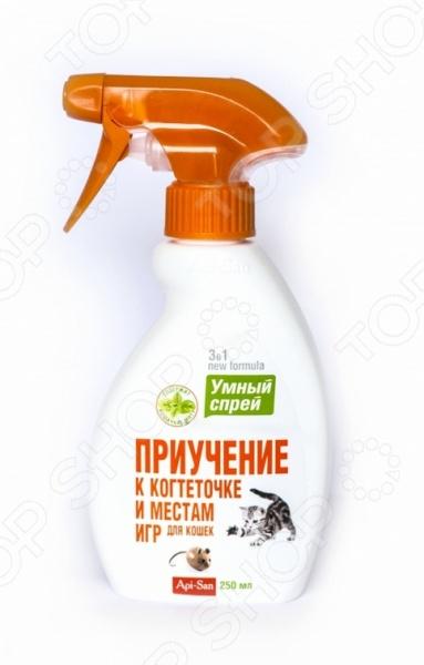 Спрей для коррекции поведения кошек Api-San «Умный спрей. Приучение к когтеточке и местам игр»