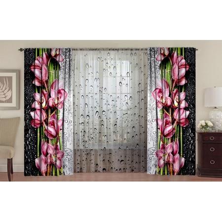 Комплект: шторы «Орхидея на стекле» и тюль «Капли»