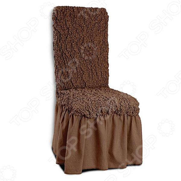 Натяжной чехол на стул с юбкой Модерн. Какао подарит вторую жизнь старому стулу. Вам надоело однообразие, хотите обновить приевшийся интерьер Совсем не обязательно для этого покупать новую мебель, ведь сегодня можно легко подобрать красивый чехол из богатого ассортимента. При этом изделие выполняет не только эстетическую функцию, но и защитную: от случайных пятен, царапин, протирания и шерсти животных.  Однако чехол окажется полезен и в другой ситуации. Допустим, вы сделали ремонт в комнате, и старый стул уже не вписывается по стилю в интерьер помещения. Не беда! Просто подберите подходящий чехол и готово. Он без особого труда надевается на стулья практически любого типа и также легко снимается. Изделие сшито из приятной на ощупь ткани, обладающей следующими свойствами:  прочность и износостойкость;  хорошая растяжимость благодаря эластичным нитям в составе ткани;  устойчивость к деформации даже после стирки ;  долго сохраняет свой оригинальный цвет.  Материал не требует особого ухода. Допускается ручная или машинная стирка при температуре от 30 до 40 C без применения отбеливающих средств. Одежда для вашей мебели Способов обновить старую мебель не так много. Чаще всего приходится ее выбрасывать, отвозить на дачу или мириться с потертостями и поблекшими цветами. Особенно обидно избавляться от мебели, когда она сделана добротно, но обивка подвела. Эту проблему решают съемные чехлы для мебели, быстро набирающие популярность в России. Незаменимы чехлы для мебели в домах с маленькими детьми и домашними животными, в гостиных, где устраиваются застолья и посиделки, в интерьерах офисов. В съемных квартирах они помогут сохранить чистоту и гигиеничность. Но все-таки главное их предназначение это эстетическое обновление интерьера. Узнайте больше о плюсах приобретения еврочехлов:  Дизайн еврочехлов исполнен в русле самых свежих трендов рынка интерьерного текстиля. В линейке еврочехлов вы найдете подходящий вариант для воплощения любой дизайнерской идеи.  Еврочехлы подходят для 
