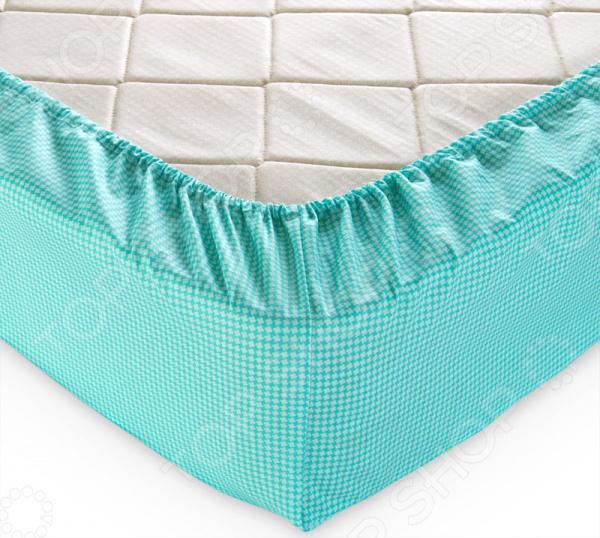Простыня на резинке ТексДизайн «Текстура». Цвет: мятный