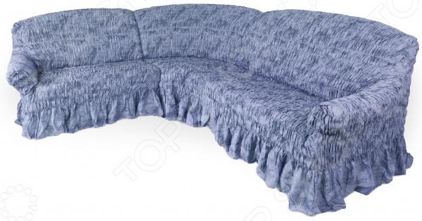 Zakazat.ru: Натяжной чехол на угловой диван Еврочехол «Фантазия. Синий»
