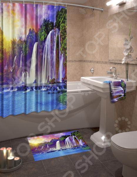Набор для ванной комнаты: шторка и коврик ТамиТекс «Водопад»