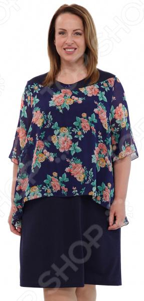 Платье СВМ-ПРИНТ «Морской прибой». Цвет: синий, розовый  свм принт вкус востока цвет розовый