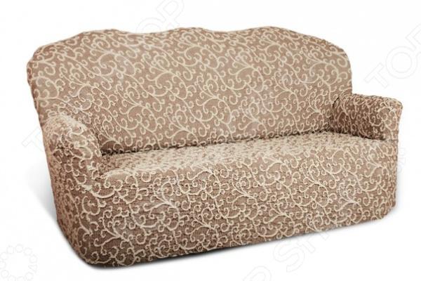 Натяжной чехол на трехместный диван Еврочехол «Жаккард. Волны»