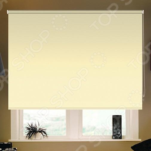 Рулонная штора блэкаут Эскар тканевая. Цвет: ванильный