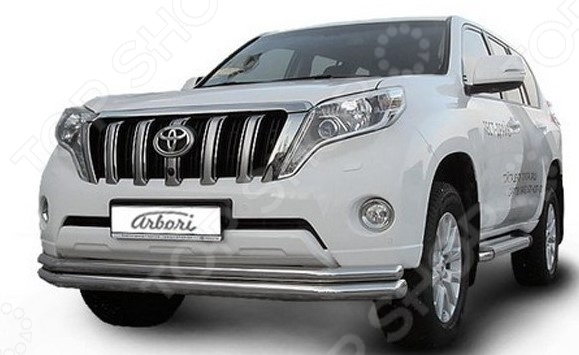 Защита переднего бампера Arbori двойная длинная для Toyota Land Cruiser Prado J150, 2014 защита переднего бампера arbori двойная радиусная для jeep grand cherokee 2011 2014