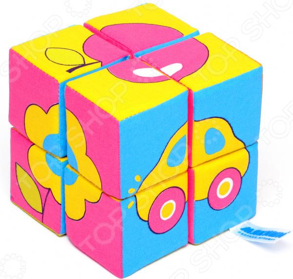 Кубики обучающие мягкие Мякиши «Собери картинку: Предметы»
