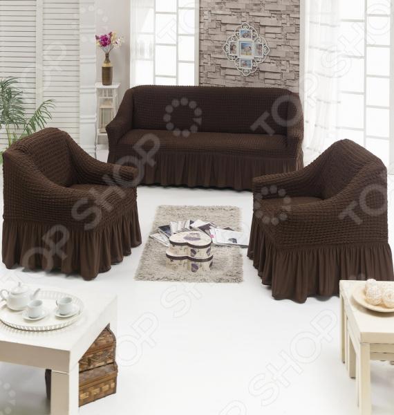 Натяжные чехлы на трехместный диван, двуспальную кровать и чехлы на 2 кресла Karbeltex с оборкой. Цвет: шоколад