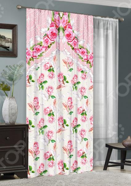 Комплект: фотоштора и тюль ТамиТекс «Изящные розы» фототюль тамитекс изящные розы