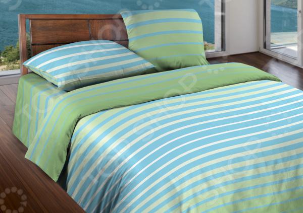 Комплект постельного белья Wenge Stripe. 1,5-спальный. Цвет: зеленый