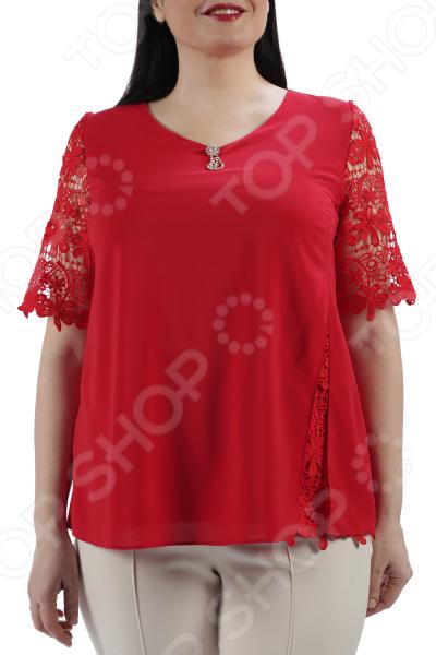 Блуза ТРЕНД «Цветущая сакура». Цвет: красный цена 2017