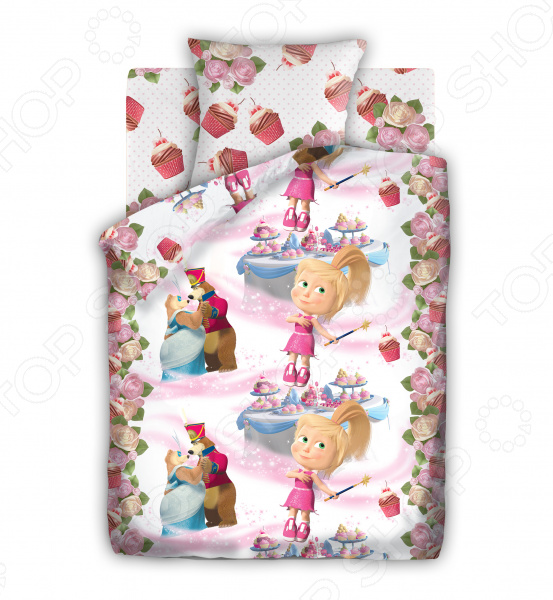 Детский комплект постельного белья Непоседа «Маша и Медведь. Праздник» непоседа непоседа комплект постельного белья в кроватку маша и медведь машин сон синий