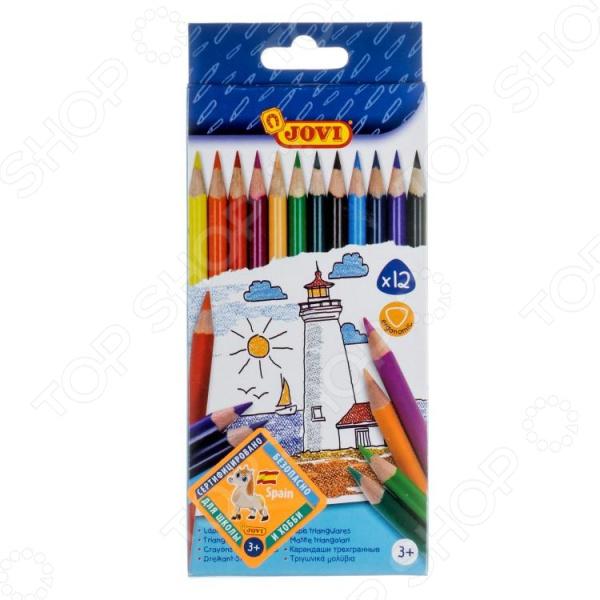 Набор трехгранных цветных карандашей JOVI Ergonomic