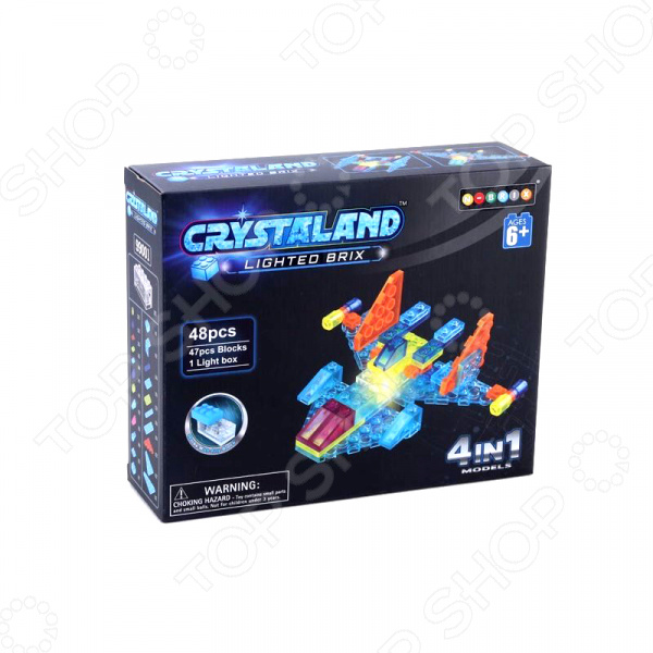 Конструктор со световыми эффектами N-BRIX Crystaland «Самолет 4 в 1» lite brix