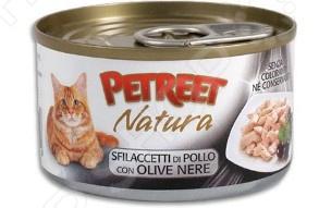 Корм консервированный для кошек Petreet Natura Sfilaccetti Di Pollo con Olive Nere