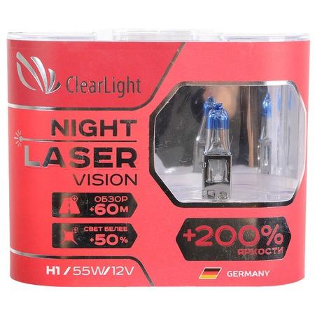 Комплект автоламп галогенных ClearLight Night Laser Vision H1 12V-55W