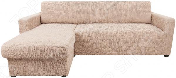 натяжной чехол на угловой диван с выступом слева еврочехол сиена сатурно Натяжной чехол на угловой диван с выступом слева Еврочехол «Сиена Венера»