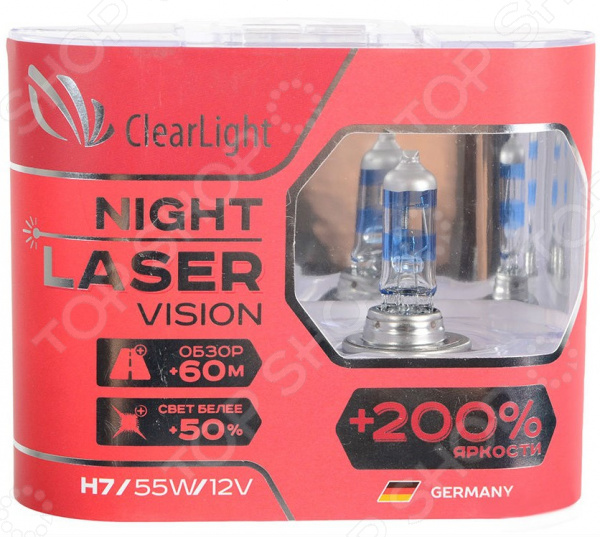 Комплект автоламп галогенных ClearLight Night Laser Vision H7 12V-55W