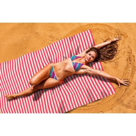 Купить Покрывало пляжное Сирень «Красные полосы»