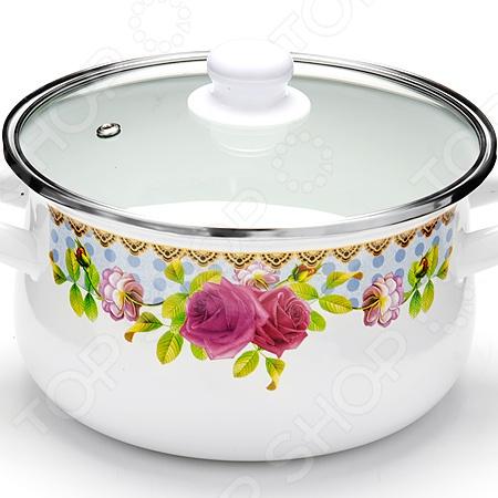 Кастрюля с крышкой Mayer&Boch «Розы» посуда кухонная