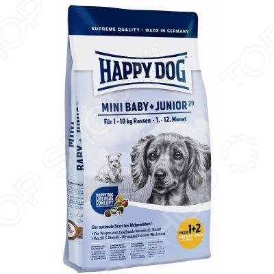 Корм сухой для щенков мелких пород Happy Dog Mini Baby +Junior