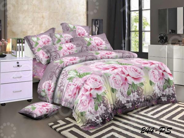 Фото - Комплект постельного белья «Цветочный Вальс». 2-спальный. Цвет в ассортименте. Рисунок: розовый букет постельное белье этель кружева комплект 2 спальный поплин 2670978
