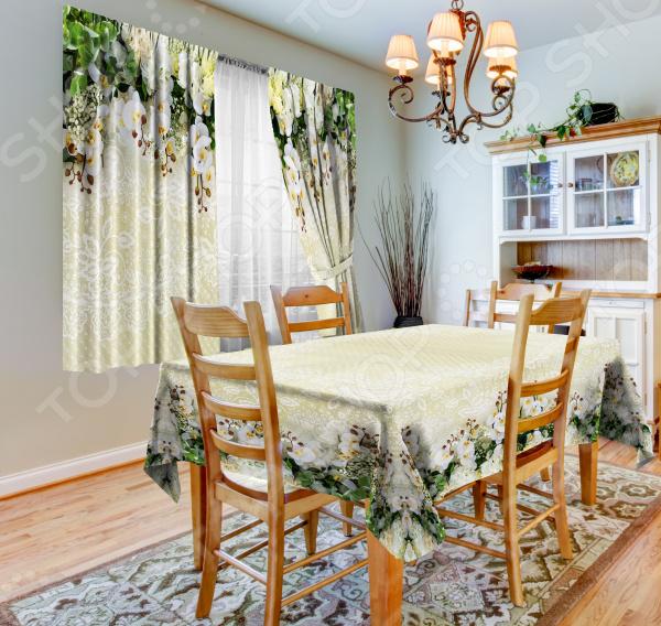 фото Набор для кухни: шторы, тюль и скатерть «Ажур», Фотошторы с цветами/пейзажами