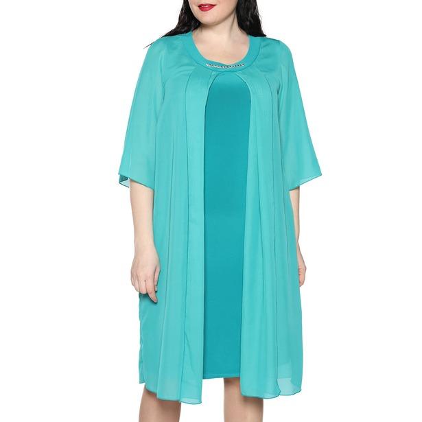фото Платье Лауме-Лайн «Звездное настроение». Цвет: бирюзовый. Размер одежды: 66-68