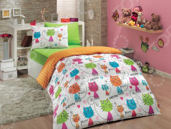 Детский комплект постельного белья Hobby Home Collection Meow. Цвет: оранжевый