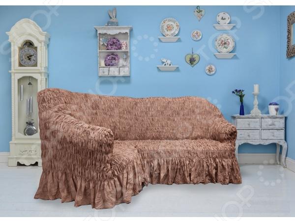 Натяжной чехол на угловой диван Еврочехол «Фантазия. Шоколад» 3