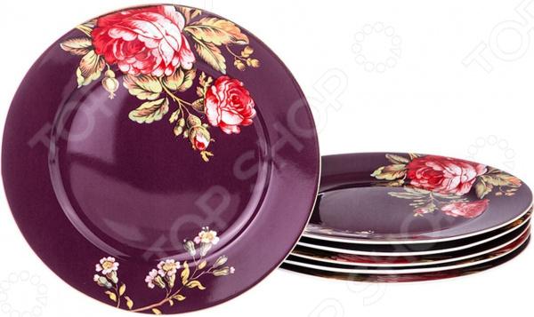 Набор десертных тарелок Lefard «Розы на бордовом»