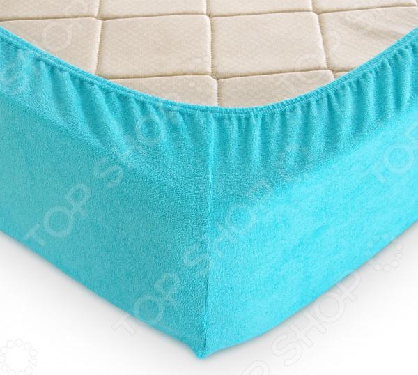 Простыня на резинке ТексДизайн махровая. Цвет: голубой