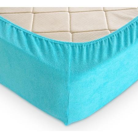 Купить Простыня на резинке ТексДизайн махровая. Цвет: голубой