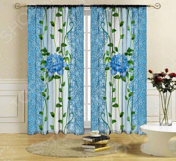 Комплект фотоштор ТамиТекс «Голубой цветок»