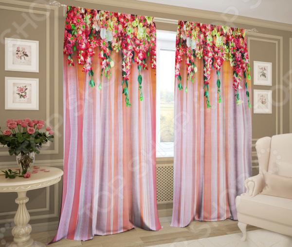 Комплект штор ТамиТекс «Ламбрекен из цветов»