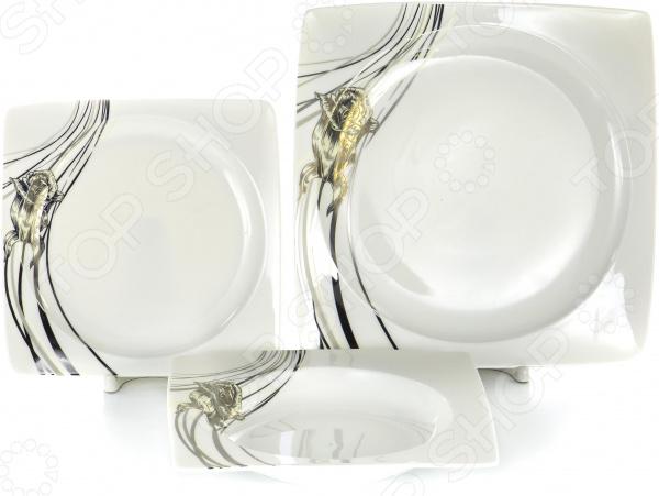 Набор столовой посуды OlAff «Белый квадрат. Роза». Количество предметов: 18 набор столовой посуды olaff эстелла