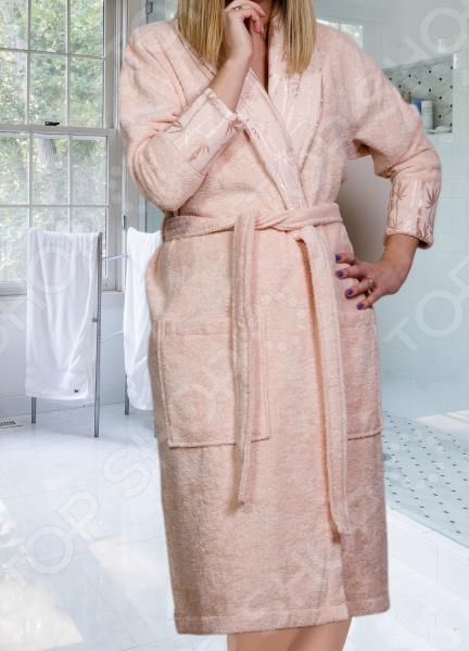 Халат махровый женский Hobby Home Collection Eliza. Цвет: персиковый
