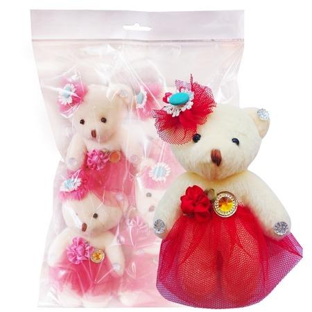 Купить Набор мягких игрушек Color Kit «Мишка». Цвет: красный. Рисунок: сетка