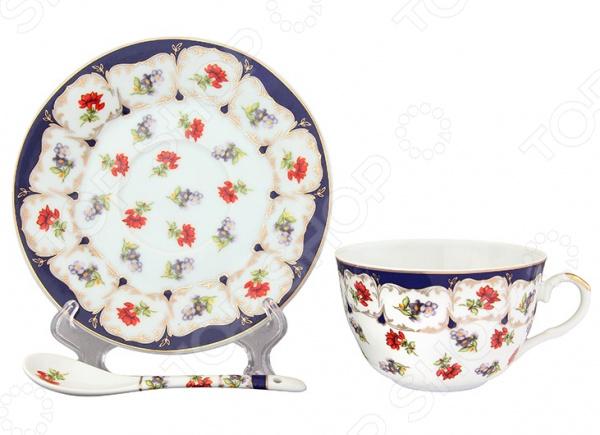 Чайная пара Elan Gallery с ложкой «Цветочек»