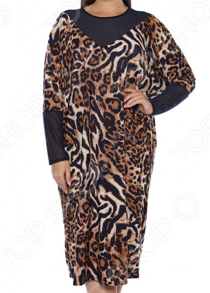 Платье «Лаурель». Цвет: синий, леопардовый платье футболка женское deha из трикотажного хлопка