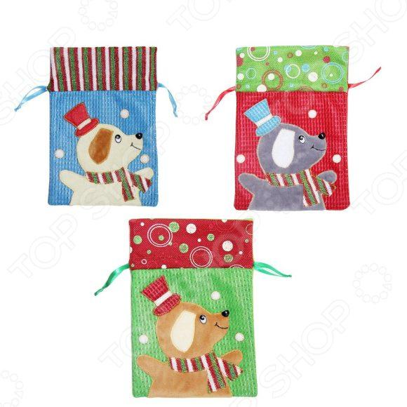 Мешок для подарка Новогодняя сказка «Собачка». В ассортименте