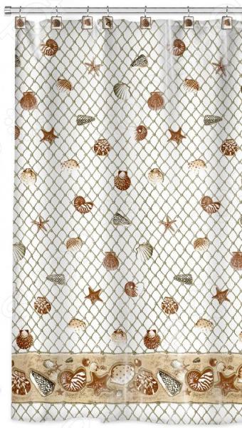 Штора для ванной Valiant «Морские ракушки» декоративные перегородки для зонирования комнаты калуга