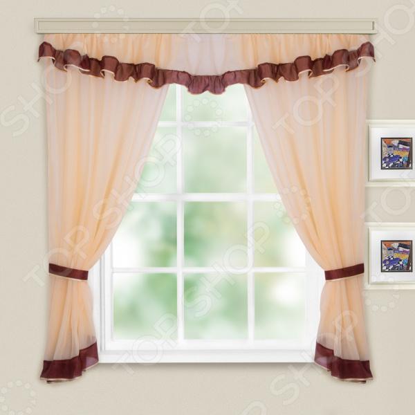 Комплект легких штор WITERRA «Акцент». Цвет: шоколад