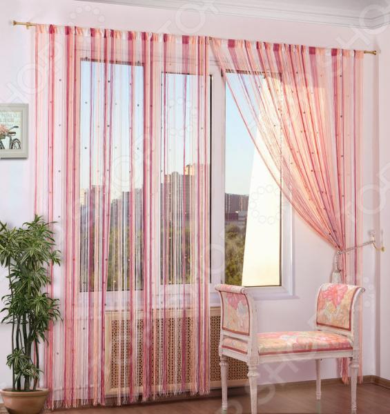 Шторы нитяные Алтекс «Радуга стеклярус». Цвет: белый, розовый шторы томдом классические шторы вольтер к цвет бирюзовый